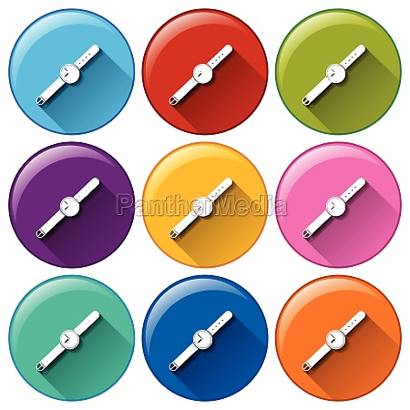 rounded buttons with watches