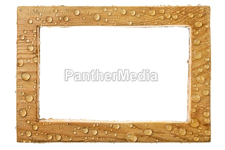 beautiful wooden frame in raindrops isolated