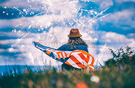 young woman celebrating independence day