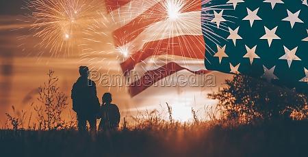 family celebrating independence day