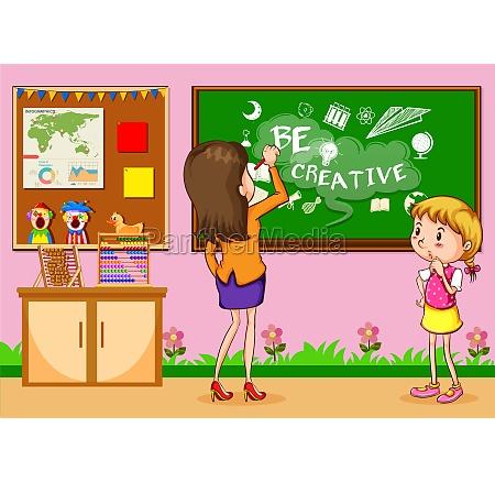 teacher writing on the board in