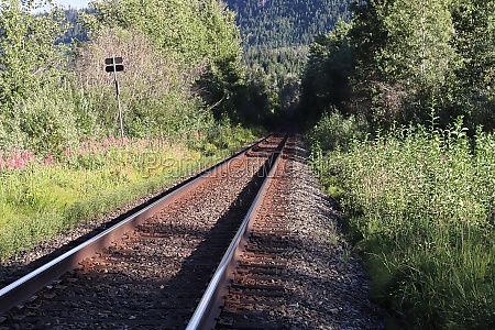 perspective view of a train track