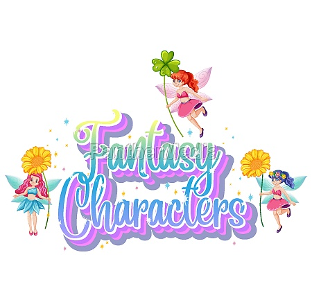 fantasy characters logo with fairy tales