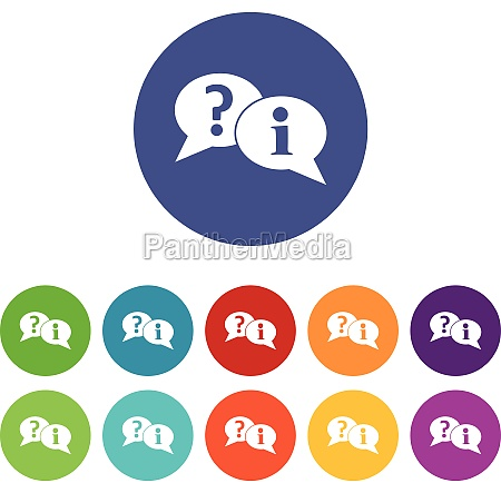 question and exclamation speech bubbles set