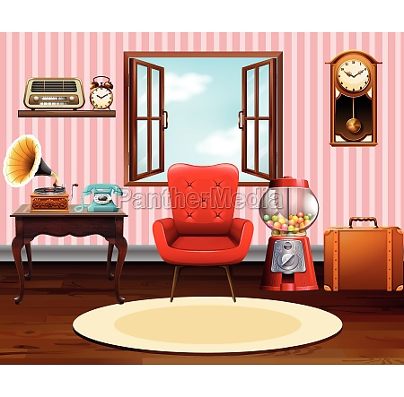 living room with vintage objects