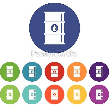 oil barrel set icons
