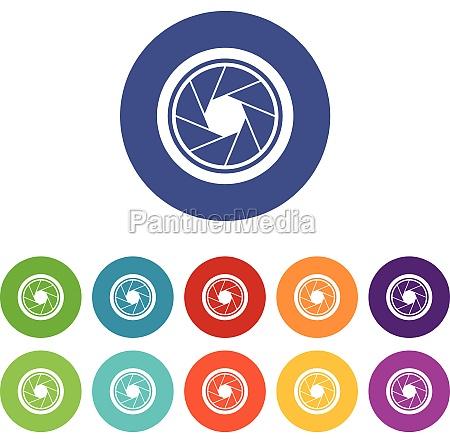 photographic objective set icons