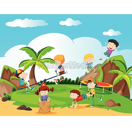happy children playing in playground