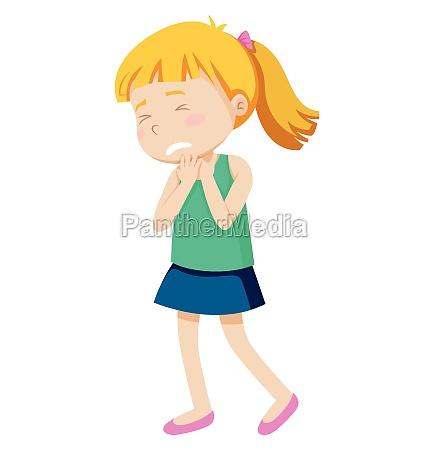 a girl wtih sore throat