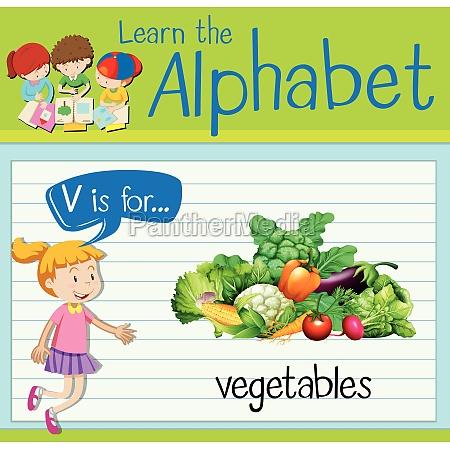 flashcard letter v is for vegetables