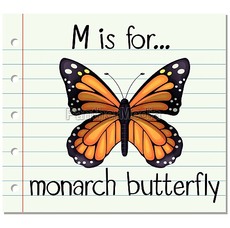 flashcard letter m is for monarch