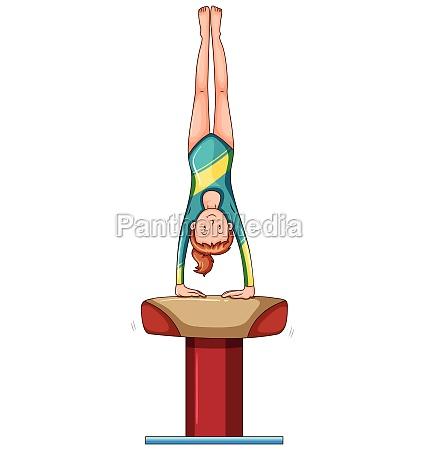 woman doing gymnastics on balance bar