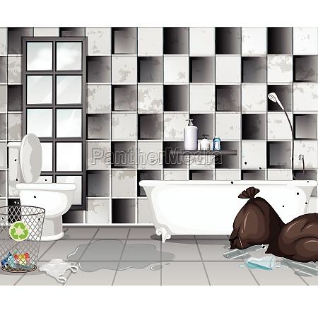 dirty with rubbish bathroom scene