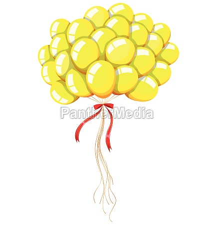 yellow balloons floating in the air