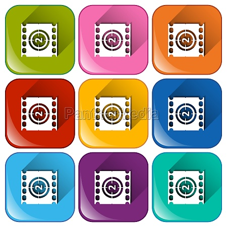 rounded icons with movie players