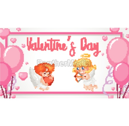 valentine theme with cupids and pink