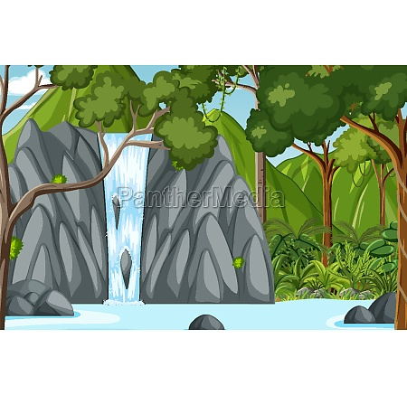 forest scene with waterfall