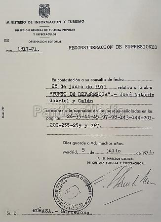 francoist censor certificate sent to gabriel