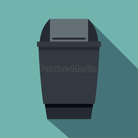 grey flip lid bin icon flat