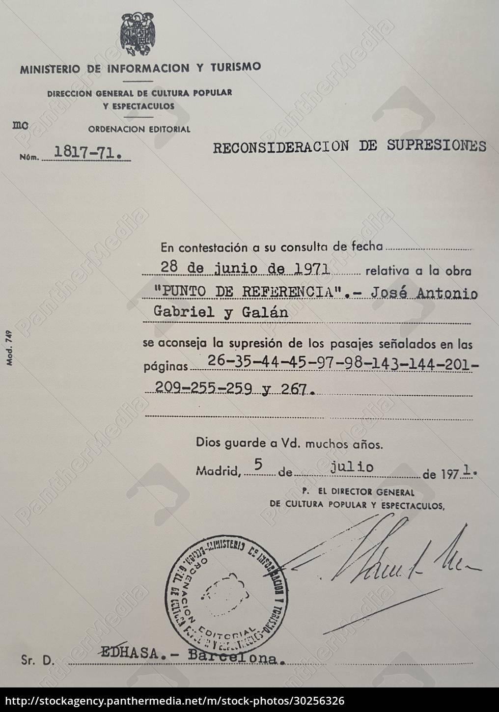 francoist, censor, certificate, sent, to, gabriel - 30256326