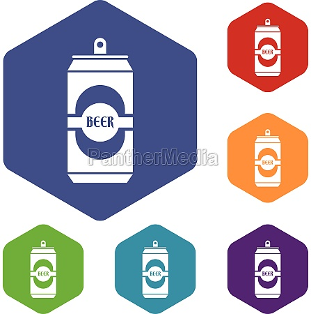 aluminum can icons set