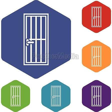 steel door icons set