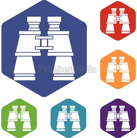 binoculars icons set