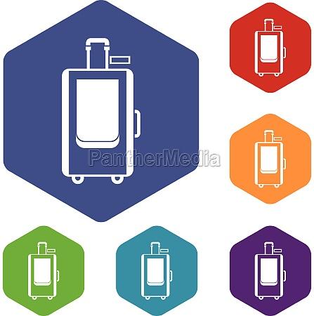 travel suitcase icons set