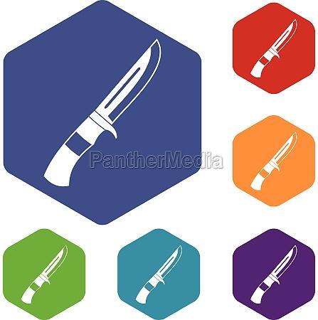 knife icons set