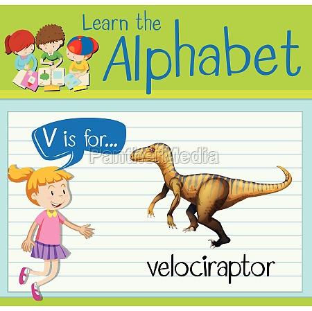 flashcard letter v is for velociraptor