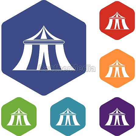 circus tent icons set