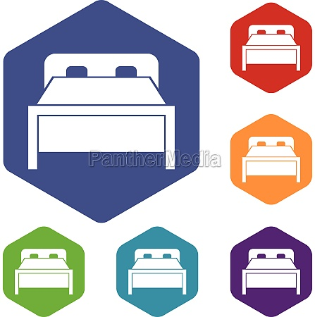 double bed icons set