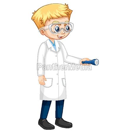 a boy cartoon character wearing laboratory