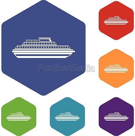 cruise ship icons set