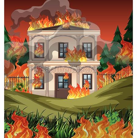 fire destroy mansion background