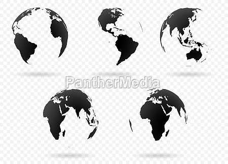 earth globes black with transparent shadows