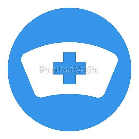 nurse hat vector white glyph icon
