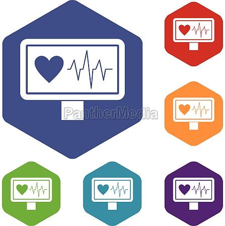 heartbeat icons set