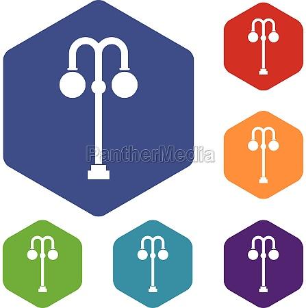 street lamp icons set