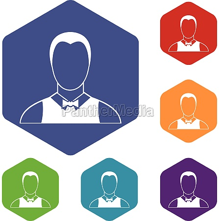 waiter icons set