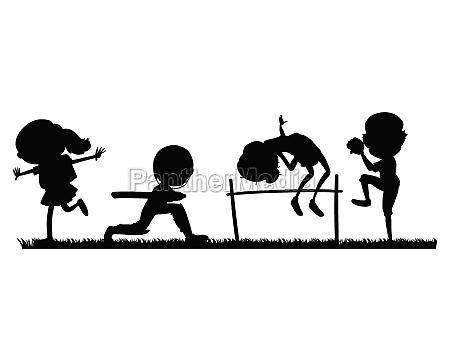 set of sport athletes silhouette