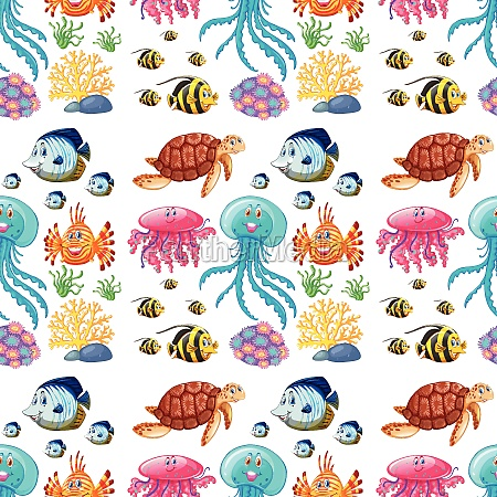 fun seamless pattern of marine life