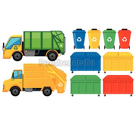 rubbish trucks and cans in many