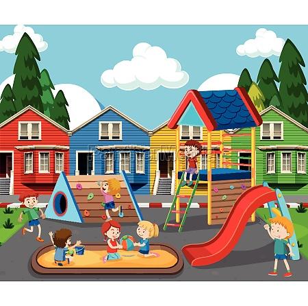children in colorful playground