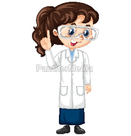 girl in science gown on isolated