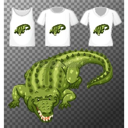 green crocodile cartoon character with many