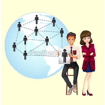 business people with map of the