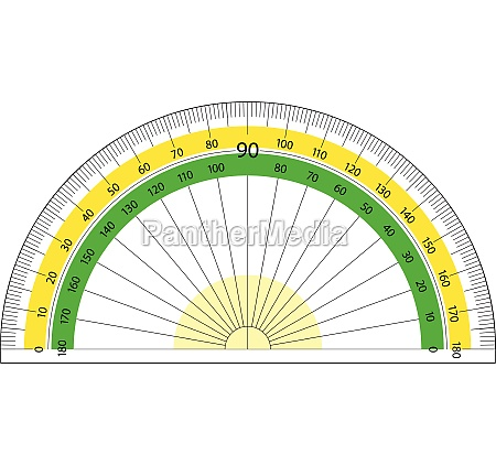 round protractor on white background