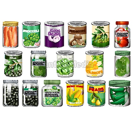 set of different canned food and