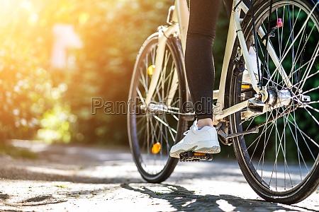 riding rental bike or bicycle
